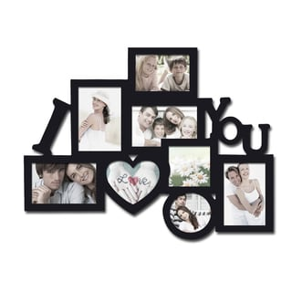 Adeco Decorative Black Wood 'I Heart You' Wall Hanging Collage Photo Frame with 8 Openings