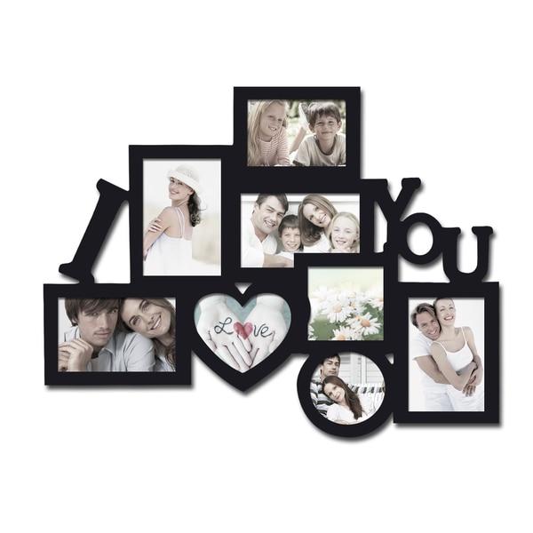 Adeco Decorative Black Wood 8-opening Decorative Wood 'I Love You' Collage Wall Hanging Photo Frame