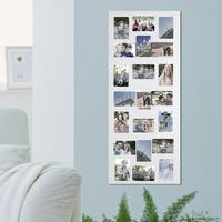 Adeco Decorative White Wood Wall Hanging Collage 4x6 Photo Frame with 21 Openings