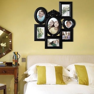 Adeco Decorative Black Polyresin Highly Detailed Wall Hanging Collage Photo Frame with 7 Openings
