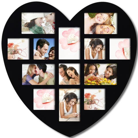 Adeco Black Wood Wall Hanging Heart-shaped Photo Frame