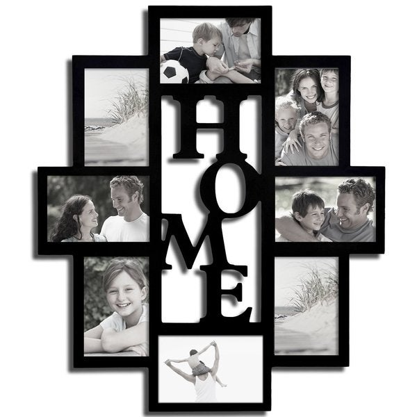 Adeco Decorative Black Wood Home Wall Hanging 4x6 Photo Frame Collage With 8 Openings