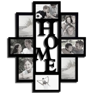 Adeco Decorative Black Wood 'Home' Wall Hanging 4x6 Photo Frame Collage with 8 Openings