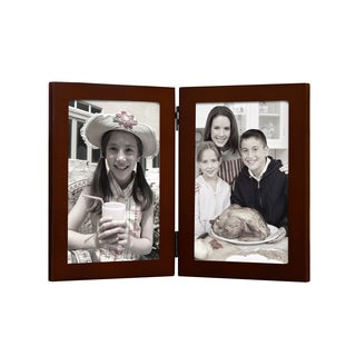 Adeco Decorative Walnut Color Wood Hinged Table Top Vertical 5x7 Photo Frame with 2 Openings
