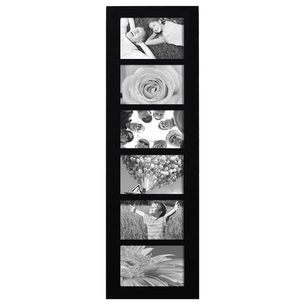 Adeco Decorative Black Wood Wall Hanging 4x6 Photo Frame Collage with 6 Openings