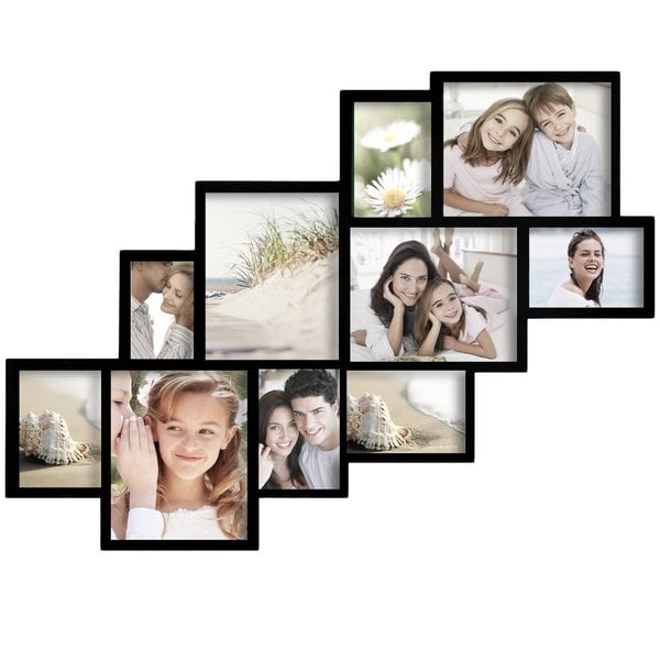 Adeco Decorative Black Wood Wall Hanging Picture Frame Collage With 10 Clustered 4 8x10 Inch 5 5x7 Inch 1 4x6 Inch Openings