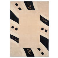 Mystique Abstract Border Rug - 5'3 x 7'7
