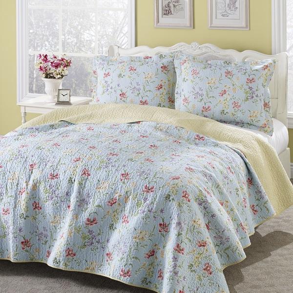 Laura Ashley Crofton Reversible Cotton 3-Piece Quilt Set-4932