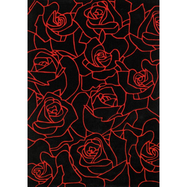 "Mystique Hand-tufted Black Flowers Rug (7'1 x 10'1) - 7'10"" x 10'10"""