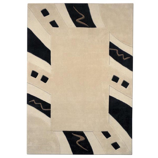 Mystique Abstract Border Rug - 7'10 x 10'10