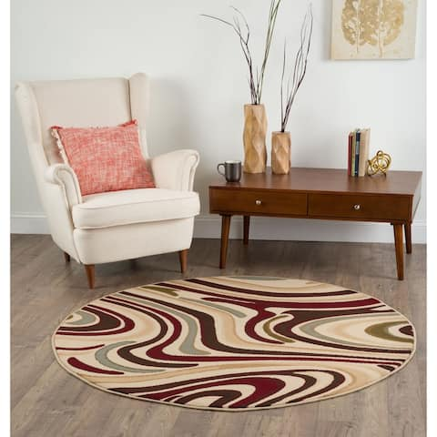 Alise Rugs Lagoon Contemporary Abstract Round Area Rug - multi - 7'10 x 7'10