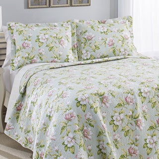 Laura Ashley Carlisle Mist Reversible Cotton 3-piece Quilt Set