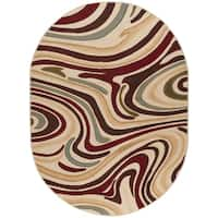 Alise Rugs Lagoon Contemporary Abstract Oval Area Rug - multi - 5'3 x 7'3