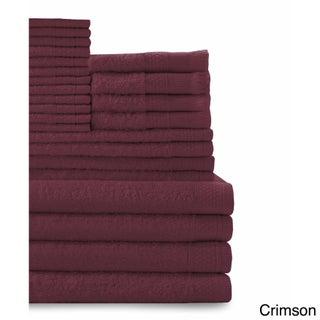 Cotton 24-piece Towel Set with Fingertip Towels (Option: Crimson)
