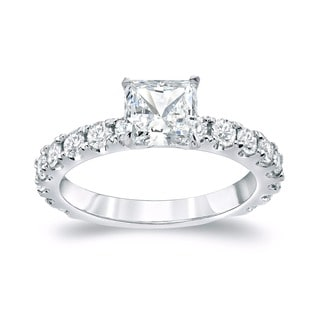 Auriya 14k Gold 2ct TDW French Pave Certified Princess-Cut Diamond Engagement