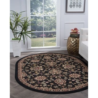 Alise Rugs Lagoon Transitional Oriental Oval Area Rug - 5'3 x 7'3
