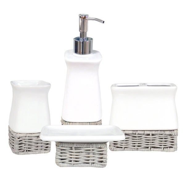 shop amherst white and grey ceramic bath accessory 4-piece