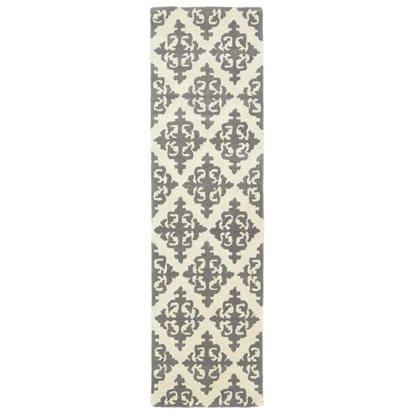 Runway Light Brown/Ivory Damask Hand-tufted Wool Rug (2'3' x 8')