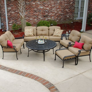 Rosedown 7-piece Cast Aluminum Patio Deep Seating Set with Fire Pit Table and Ice Bucket Insert