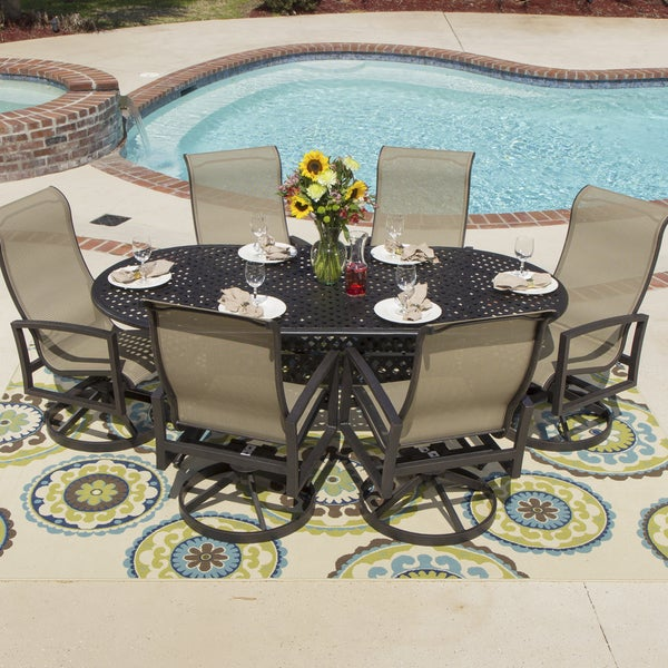 Shop Acadia 7 Piece Sling Cast Aluminum Table Dining Set