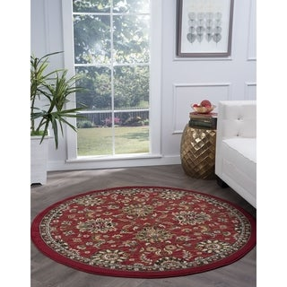 Alise Lagoon Red Transitional Area Rug (5'3 Round)