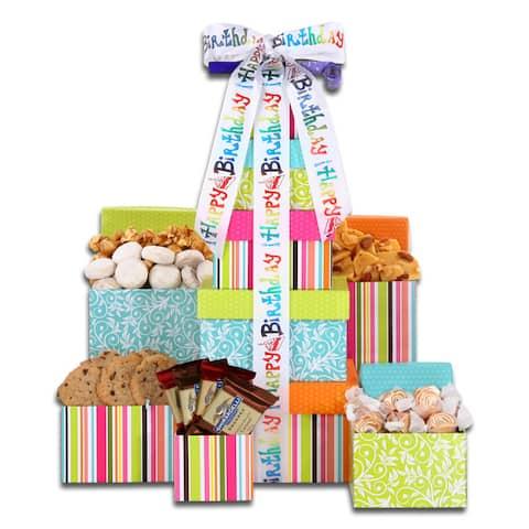 Alder Creek Gift Baskets Happy Birthday Treats Tower