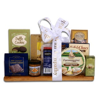 Link to Alder Creek Sympathy Gourmet Cutting Board Gift Basket Similar Items in Gourmet Food Baskets