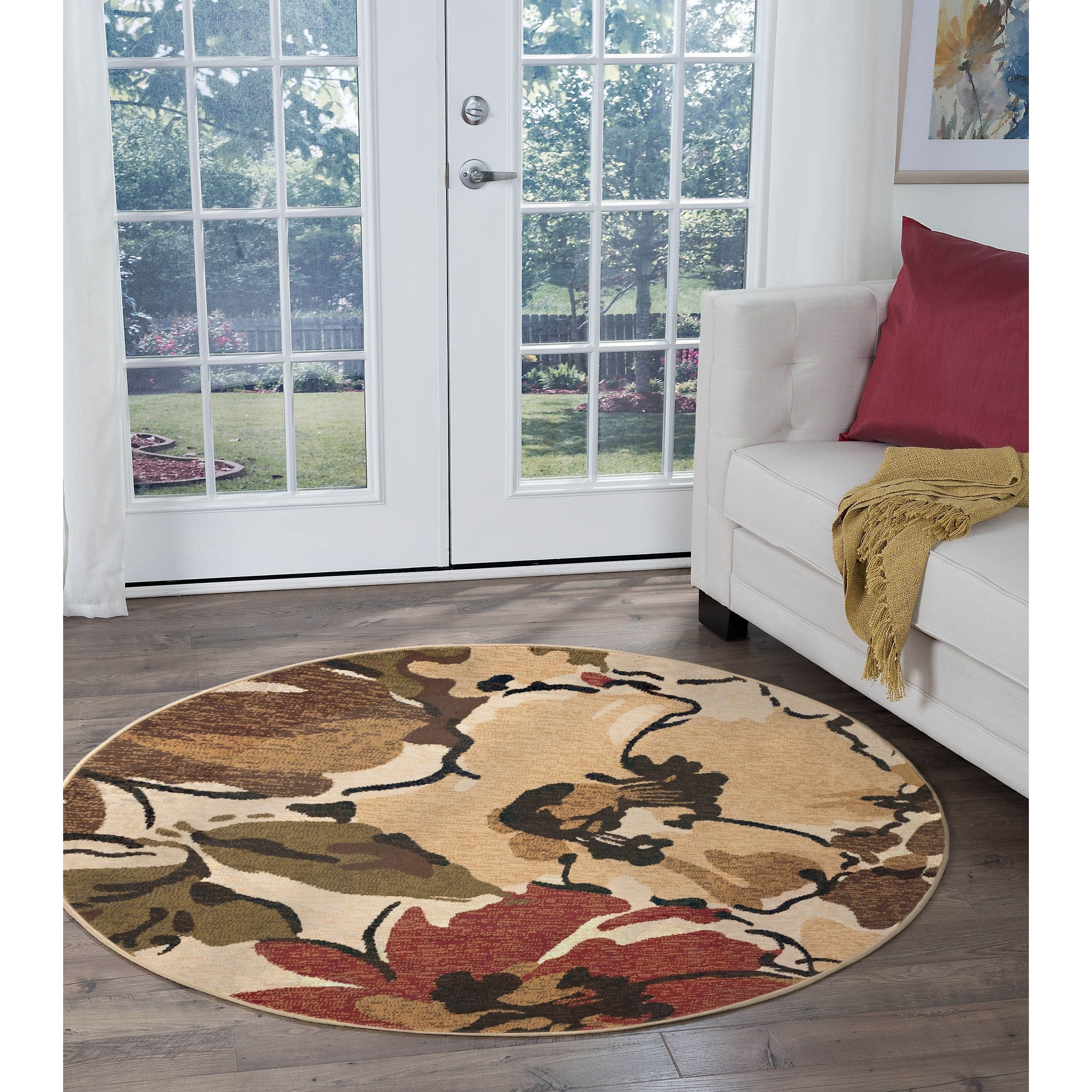 Image of: Shop Alise Rugs Lagoon Contemporary Floral Round Area Rug 7 10 X 7 10 Overstock 9064628