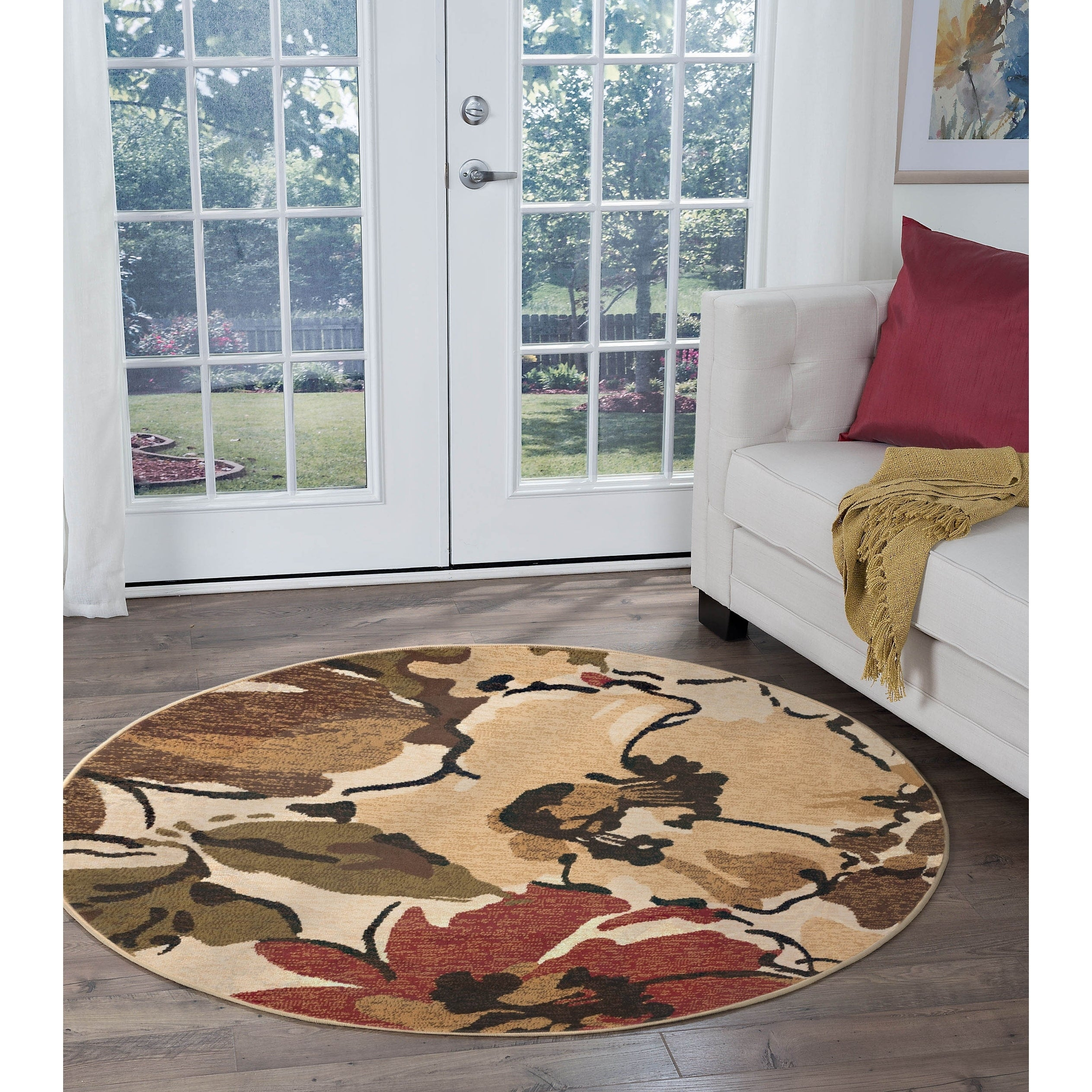 Alise Rugs Lagoon Contemporary Floral Round Area Rug - 7'10 x 7'10 (brown - 7'10 x 7'10)