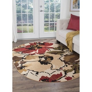 Alise Lagoon Beige Oval Contemporary Area Rug (5'3 x 7'3 Oval)