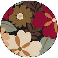 Alise Rugs Lagoon Contemporary Floral Round Area Rug - 5'3 x 5'3