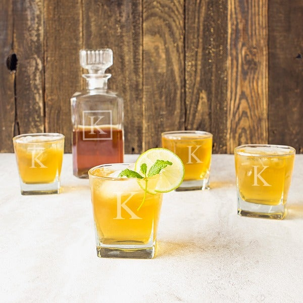 Personalized 5-piece Square Glass Decanter Set