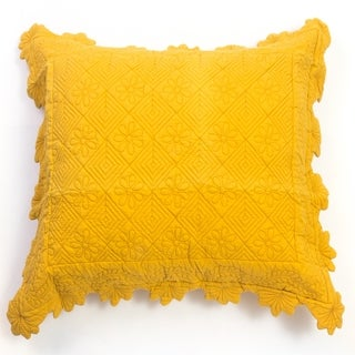 Carly Yellow Square Quilted Pillow