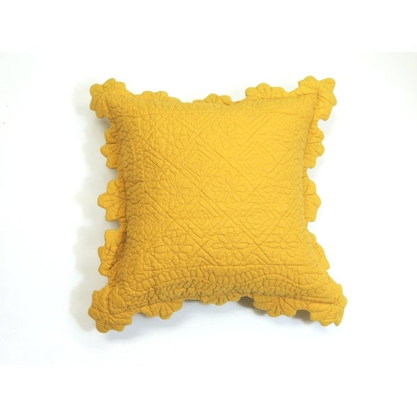 Shop Carly Yellow Square Quilted Pillow Free Shipping