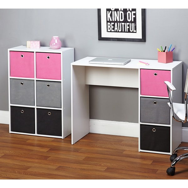 Simple Living Jolie Large Pink Writing Desk and Bookcase ...