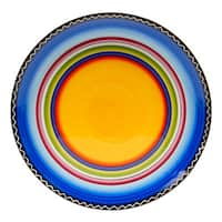Hand-painted Tequila Sunrise 14.5-inch Round Ceramic Serving Platter
