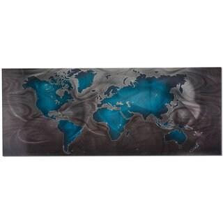 Blue/ Pewter Modern World Map