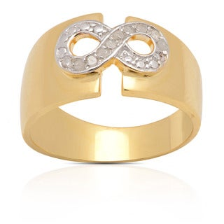 Finesque 18k Gold Over Silver 1/10ct TDW Diamond Infinity Ring