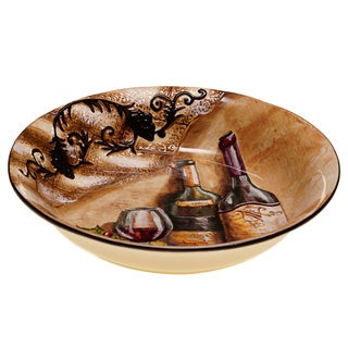 Hand-painted Tuscan View 13-inch Serving/ Pasta Bowl