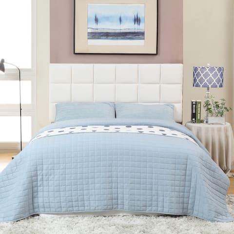 Furniture of America Salt Contemporary Flax Fabric Tufted Headboard
