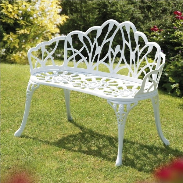 Perth White Cast Aluminum Garden Bench Free Shipping Today