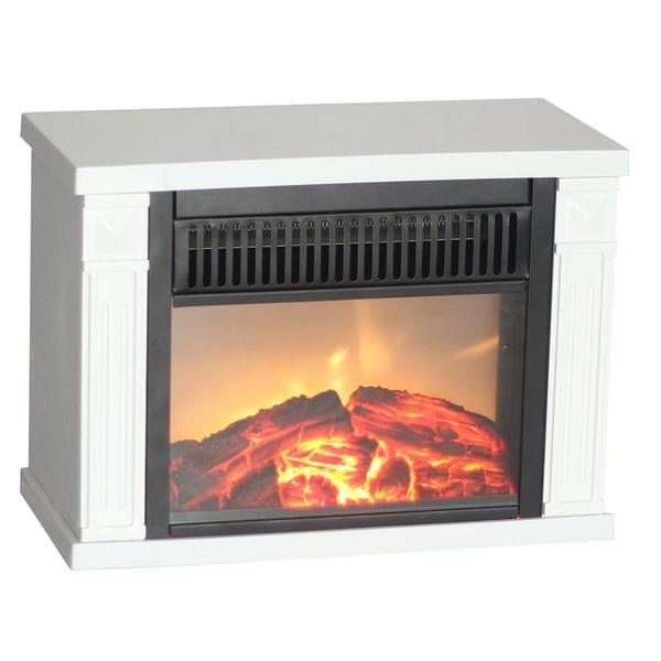 World Marketing Emf162 White Bookshelf Mini Fireplace