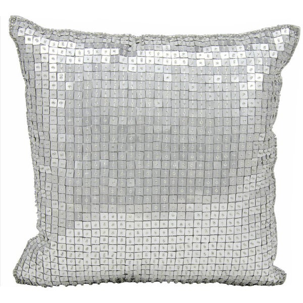 Michael Amini Square Sequin Silver Throw Pillow (12-inch x 12-inch) by Nourison - Free Shipping ...