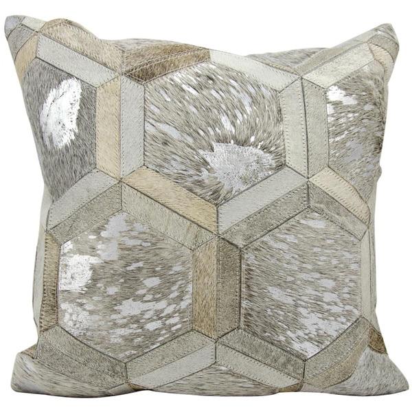 michael amini metallic hexagon greysilver throw pillow 20inch x 20 - Grey Throw Pillows