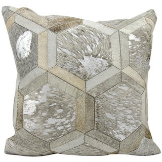 Michael Amini Metallic Hexagon Grey/Silver Throw Pillow (20-inch x 20-inch) by Nourison