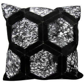 Michael Amini Metallic Hexagon Black/Silver Throw Pillow (20-inch x 20-inch) by Nourison