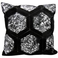 Mina Victory Metallic Hexagon Black/ Silver 20 x 20-inch Throw Pillow by Nourison