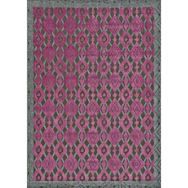 Grand Bazaar Viscose Sagio Area Rug in Dark Gray/ Raspberry (7'6 x 10'6)