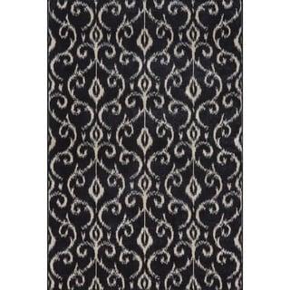 """Grand Bazaar Power Loomed Wool & Viscose Guilia Rug in Black / Ecru 7'-10"""" x 11'"""