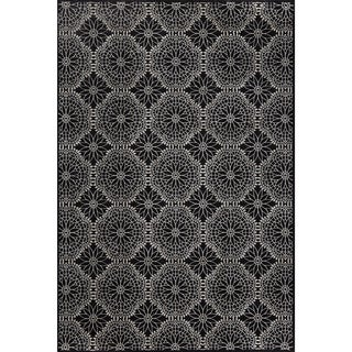 "Grand Bazaar Power Loomed Wool & Viscose Settat Rug in Black / Ecru 7'-10"" x 11'"